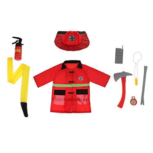 CUTICATE Kind Halloween Rollenspiel Spielzeug Feuerwehrmann Polizist Verkleiden Sich Kleidung \u0026 ACCS - Feuerwehrmann (Feuerwehrmann Verkleiden Kostüm Kinder)