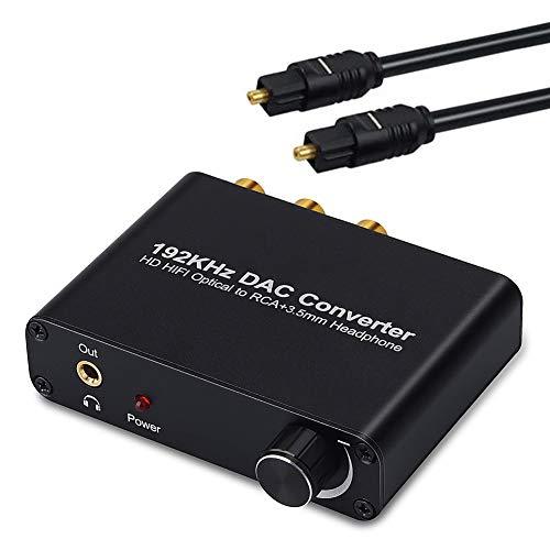 Expresstech @ Toslink zu Analog Konverter Koaxial Toslink SPDIF Optisch Analog Optikal zu Stereo L/R RCA Adapter mit Lautstärke 3.5mm für TV Box DVD PS3 Xbox PS4 HD Plasma Amps Apple AV Verstärker (32 De Plasma Tv)