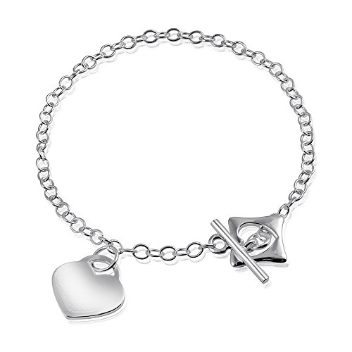 MATERIA 925 Silber Armband mit Gravur Herz MARIA - 18cm Anker Armband Damen  mit Schmuckbox   966e751d44