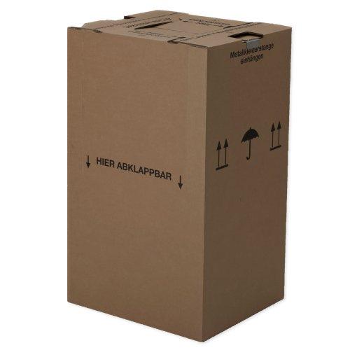 2 Mini-Kleiderboxen 600 x 510 x 1000 mm / Qualität: 2.40 BC (doppelwellig) / inkl. Kleiderstange / für Umzug Kleider Transport Verpackung Karton Kiste Kleidung - 2