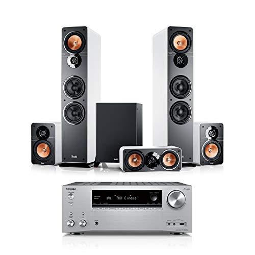 Teufel Ultima 40 Surround AVR 5.1-Set Weiß / Silber Heimkino Lautsprecher 5.1 Soundanlage Kino Raumklang Surround Movie High-End HiFi