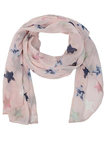 Seiden-Tuch mit Stern Muster - Hochwertiger Schal für Damen Mädchen - Halstuch - tuchschal - Loop - weicher Schlauchschal für Sommer Herbst und Winter von Cashmere Dreams - Zwillingsherz - rosa