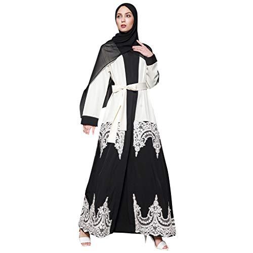 Saudi Arabien Kostüm Mädchen - WoWer Elegantes Moslemisches Kleid Der Frauen Strickjacke-Robe-isches Gebet-KostüM Langarmmode-Druck-GroßEs Schaukel-Kleid Einfache DüNne Spitze Panel-Gurt-BüGel-Langer Rock
