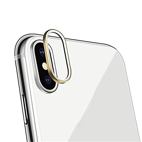 iphone x accesorios, Sannysis Lente templada de la cámara posterior de 9H dureza vidrio Cubierta protectora 3D iphone x protector para iphone x accesorios apple Protector de pantalla de lente (Oro)
