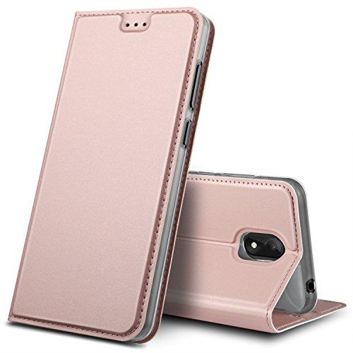 GeeMai Wiko View Go Hülle, Premium Flip Case Tasche Cover Hüllen mit Magnetverschluss [Standfunktion] Schutzhülle Handyhülle für Wiko View Go Smartphone, Rosegold