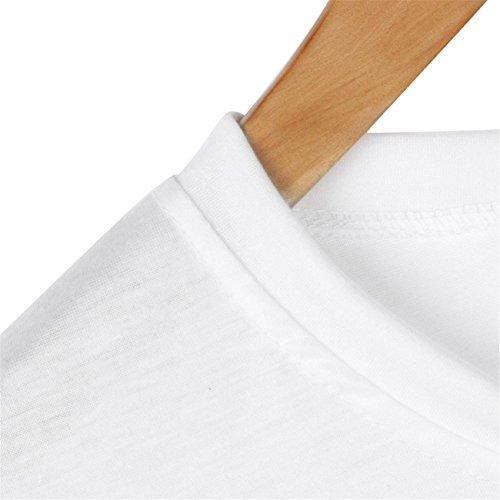 Donna Coniglio Tasca Stampa Manica Corta Casual Basic Maglietta Camicetta Top Camicetta Manica Maglioni Cappotto Abiti Giacca Gonne Primavera Estate In Chiffon Di Cotone Stampa Bianco