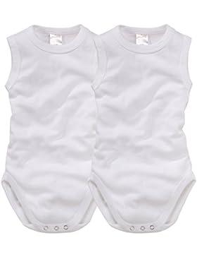 wellyou Baby und Kinder babybody ohne Arm mädchen und junge aus 100% Baumwolle, body 2er Set in weiß