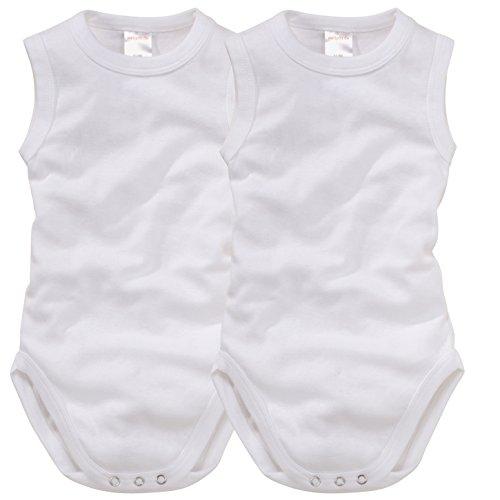 Arme Body (wellyou, 2er Set Baby-Body Kinder-Body ohne Arm, klassisch weiß, ärmellos für Jungen und Mädchen, Feinripp 100% Baumwolle, Größe 116-122)