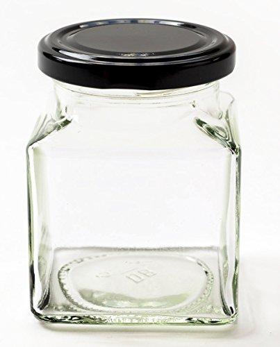 Nutley\'s 200 ml Marmeladengläser/Einmachgläser, viereckig, für Chutney, mit schwarzem Deckel (12-teilig)