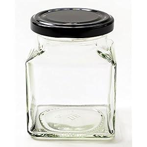 Nutley's 200 ml Square Jam/Chutney Jars with Black Lids (12-Piece)