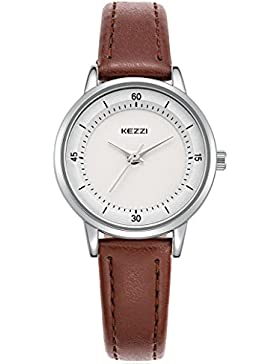 Kezzi Damen Armbanduhr, Leder Armband, Wasserdicht, Business Casual, Klassisches, einfaches Design, Analog, Quarzuhr...