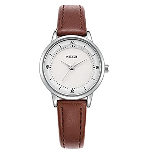 Kezzi Elegant Ladies Watches With Durable Leather Band Quartz Analog 30M Waterproof Casual Dress Small Wrist Watch for Women