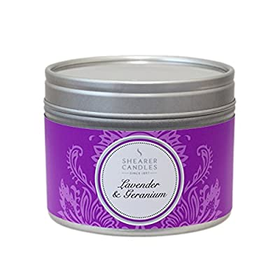 """Shearer Candles Small """"Lavender and Geranium"""" Scented Tin Candle, White by Shearer Candles"""