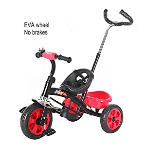GSDZSY - Adjustable Size Children Tricycle,With Detachable Push Rod,EVA Tire/Rubber Tire Non-slip And Wear Resistant,easy Installation, 18 Months - 5 Years Old,Red   9