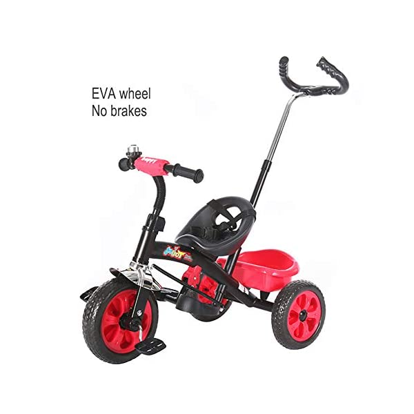 GSDZSY - Adjustable Size Children Tricycle,With Detachable Push Rod,EVA Tire/Rubber Tire Non-slip And Wear Resistant,easy Installation, 18 Months - 5 Years Old,Red GSDZSY ❀ Material: High-carbon steel +ABS+EVA wheel / rubber wheel ,Suitable for 18 Months to 5 years old Child, Maximum Load 30 kg ❀ The Push Rod can be adjusted , With a Steering Rod , Helps to develop your child's motor skills. Size:105 X 51 X75(cm) ❀ Sturdy frame and light weight, the handlebar has a protective sponge cover to protect the child's forehead 1