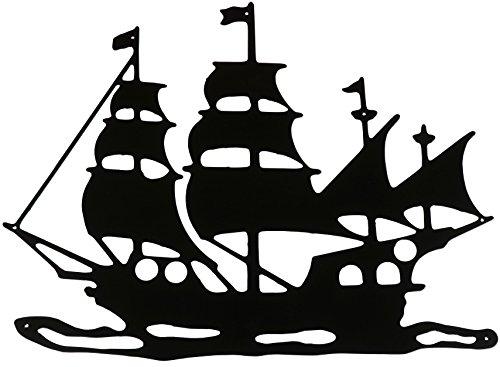 Wanddeko Magnetpinnwand Typ Piratenschiff Wandtattoo schwarz aus Blech auch für den Außenbereich Halloweendeko