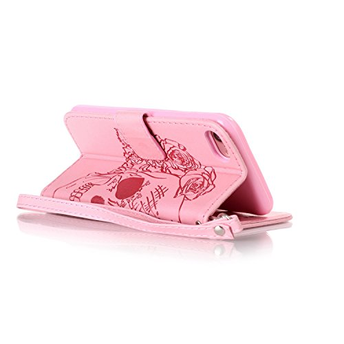 TOYYM Tasche Hülle für iPhone 6/6S,Flip Schutzhülle Zubehör PU Leder Handytasche 3D Cool Braun Schädel Muster Design im Bookstyle mit Ständerfunktion[Stand Feature] Kartenfächer für Apple iPhone 6/6S  Rosa Schädel