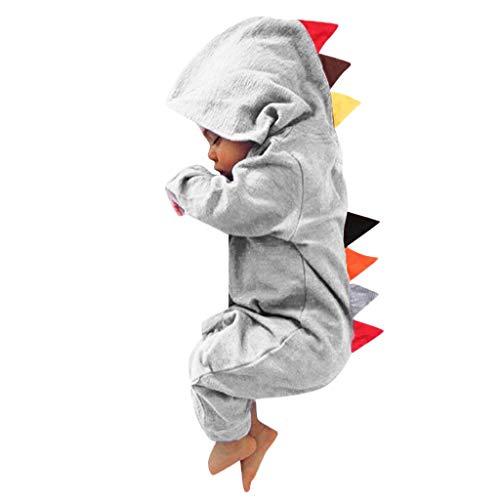 Markthym Neugeborenes Baby Kinder Jungen Mädchen warme Dinosaurier-Reißverschluss-mit Kapuze Spielanzug-Overall-Kleidung Warmer langärmeliger Dinosaurier-Kapuzenoverall mit Reißverschluss männlichen (Rock Star Kostüm Männliche)