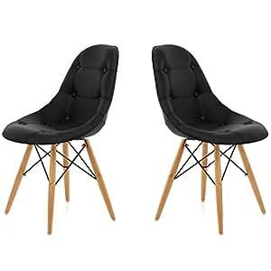 chaise sunny capitonnee noir lot de 2 cuisine maison. Black Bedroom Furniture Sets. Home Design Ideas