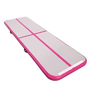 Homgrace Aufblasbare Gymnastikmatte Weichbodenmatte Turnmatte Air Track Gymnastik Tumbling Matte Tragbar Trainingsmatten Sportmatte, 300 x 90 x 10 cm (Rose Rot, ohne elektrisch luftpumpe)