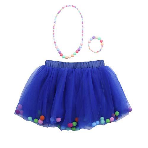 WOZOW Kinder Tüllrock Einfarbig Fellknäuel Kunstpelzball Unterkleid Prinzessin Röckchen Dancewear Cosplay Fasching Party Mädchen Minirock