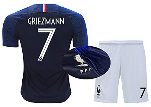 LHWQAN Fußballbekleidung Herren- und Damenanzüge 2019 Französische Trikots Nr. 10 Mbape Meister Nationalmannschaft Heim 7 Griezmann Auswärts 6 Bogba Fußball-9-XS -