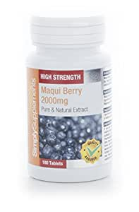 Bacche di Maqui 2000mg - Per la perdita di peso - 180 Compresse - 2 mesi di trattamento - Simply Supplements
