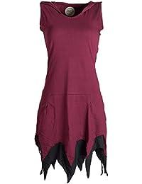Vishes Alternative Bekleidung - Ärmelloses Elfenkleid im Lagenlook mit Zipfeln und Zipfelkapuze aus Biobaumwolle