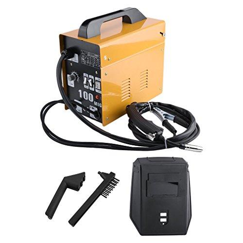 Sweepid Fülldraht-Schweißgerät MIG100 60-105A 230V Schweißbrenner Schutzgas Schweissmaschine (Gelb)