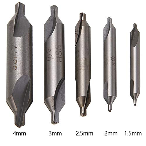Drill Bits - 5pcs Hss Combined Center Drills Bits 60 Degree Countersink Drill Set 1.5mm 2.0mm 2.5mm 3mm 4mm - Dremel Paddle Cable Bulk Than Adapter Bosch Titanium Pack Decker Holes Countersink - Hss Combined Drill