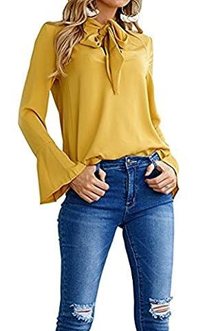 Women' Casual Long Sleeve T-shirt Tie Neck Casual Chiffon Ladies Blouse Tops