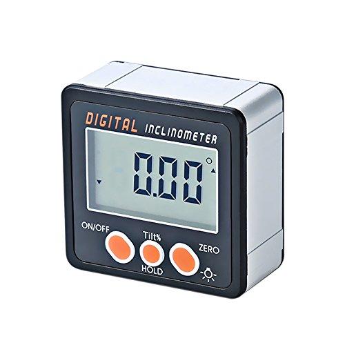 Walmeck Elektronischer Digitaler 0-360 ° Neigungsmesser Winkelmesser Aluminiumlegierung Shell Magnete Winkelmessgerät
