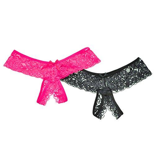 Unbekannt Angelina 2er-Pack Sexy Panty mit Spitze im Schritt - Mehrfarbig - X-Large (38-40) -