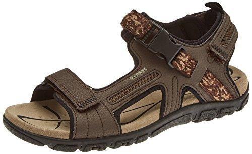 Geox strada a, sandali con cinturino alla caviglia uomo, marrone (ebony), 43 eu