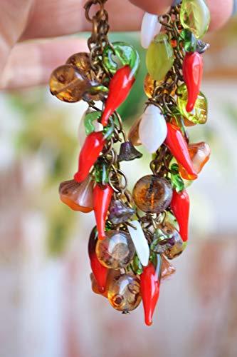 Glas perlen armband Lampwork Perlen Paprika Geschenk (Perlen Paprika)