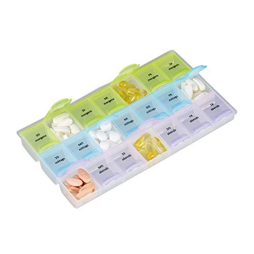 Relaxdays 7 Tage Tablettenbox, 3 Fächer, morgens, mittags, abends, Wochen Medikamentendosierer mit Deckel, transparent