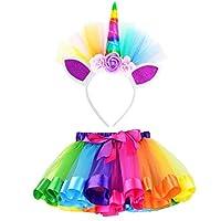 Kolylong Girls Kids Party Dance Ballet Costume Rainbow Layered Tutu Skirt+Hairband Set Suit for 4-10 Age (M, Red)
