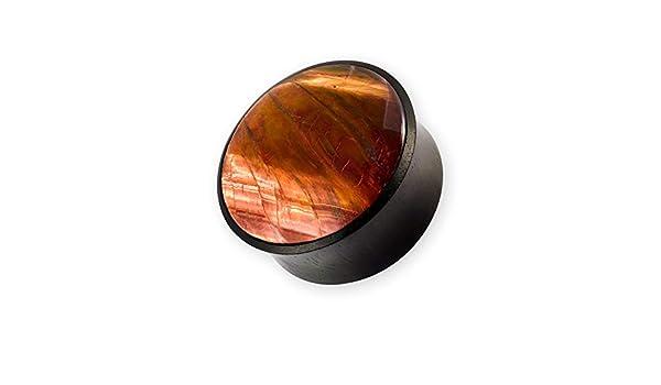 Fly Style Ohr-Plug Holz Flesh Tunnel Tigereisen Stein 10-22 mm schwarz