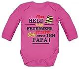 ShirtStreet Vatertag Feuerwehr Strampler Bio Baumwoll Baby Body langarm Papa - Mein Held trägt Feuerwehrstiefel, Größe: 3-6 Monate,Fuchsia