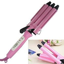 Lockenstab für Haare, mit 3 Stäben, 40 W, Profiqualität, für Locken und Wellen Maximale Temperatur 210 °C; Farbe: Rosa Modell: JUNJUN JJ-928
