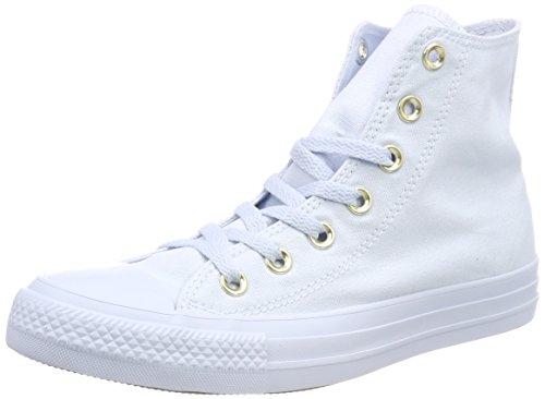 Converse Damen Chuck Taylor All Star High Hohe Sneaker Blau Hellblau/Gold, 39 EU