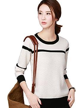 Minetom Mujer Moda Cuello Redondo Suéter Hueco Sweater Prendas De Punto Otoño Invierno Manga Larga Pullover