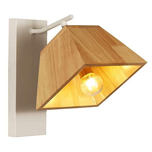 Wandleuchte, Nordic Kreative Einfache Massivholz Eisen E27 Wandleuchte, Schlafzimmer Nachttischlampe Wohnzimmer Hotel Korridor Wandleuchte, Höhe: 25 Cm