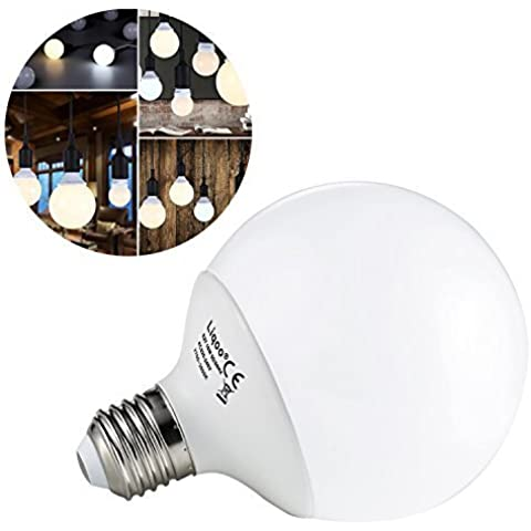 Liqoo® 10W E27 LED Lampada sferica, lampadina globo, bianco caldo 2800K, 900 Lumen, 270º, 2835 SMD, Ø95 x 133mm sostituisce 70W