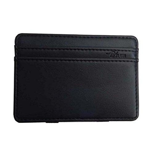 Rovinci Creative Mini Leder (PU) Brieftasche, ID Kreditkarteninhaber, männlich kleine Brieftasche (Schwarz)