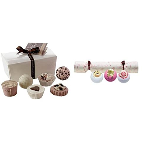 Bomb Cosmetics Chocolate Ballotin Assortment Bath Gift Set and Bomb Cosmetics It's A Cracker Blasters Duo Set