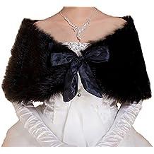 Cinda Haussement d'épaules à châle de mariée noir fausse fourrure Bolero Noir Taille unique