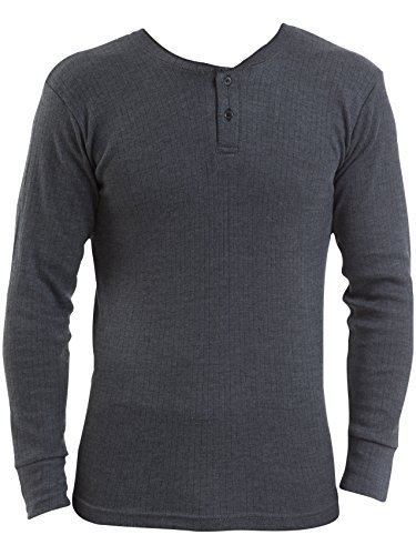 Herren Thermo-Unterhemd langärmlig V-Kragen, 3 Stück Blau denim Medium: To Fit Chest 36