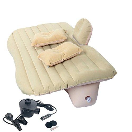 FreeTec Auto Luftmatratze Bewegliche Luftbett Rücksitz Couch mit Baffle für Reisen Camping Outdoor Aktivitäten SUV, Limousinen und Trucks, PVC(Beige)