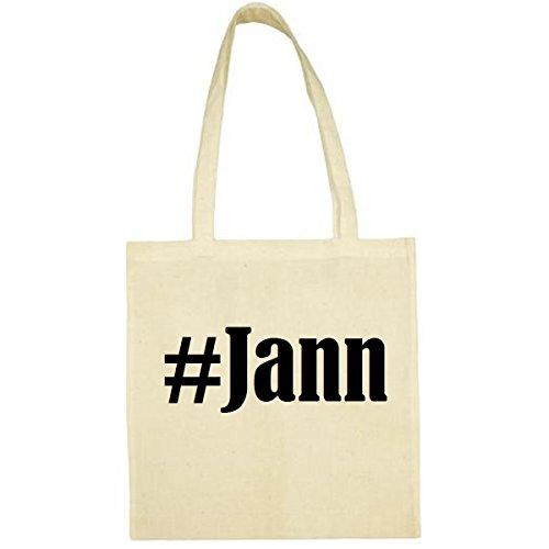 Tasche#Jann Größe 38x42 Farbe Natur Druck Schwarz